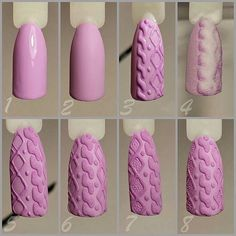 Step by step cable knit sweater nails