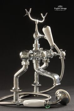 Restored Chrome Shower Mixer Taps with Cradle