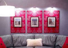 Paint or staple fabric to canvas, then attach a framed picture