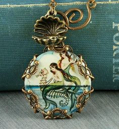 Mermaid Necklace Seahorse Necklace Oyster