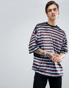 ffb86d5686d5 DESIGN oversized velour striped t-shirt with contrast rib in retro colors
