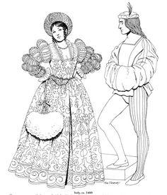 Renaissance Fashions Coloring Book #ClippedOnIssuu