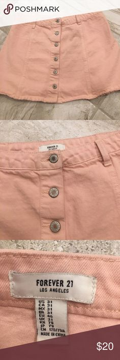 Forever 21 Pink Button Up Skirt The skirt is in good condition & is a size 31! I have lots of other listings in my closet so feel free to add some listings to a bundle for a major discount or to make an offer! Let me know in the comments if you have any questions & thanks for checking out my closet! Forever 21 Skirts