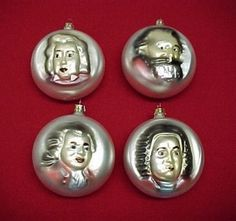 Set of 4 Musician Hand Blown Christmas Tree Ornament. Bach, Brahms, Chopin, Mozart. Raised, Hand Painted Face. Reverse has indented Musical treble clef, Birth & Death dates, Name of Classical Music Composer.