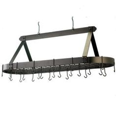 """48 x 19 x 15.5 Oval Oiled Bronze Pot Rack 24 Hooks - Oiled Bronze Oversized Oval Hanging Pot Rack. 4 Foot Long, ideal for large kitchens! Includes grid, 24 hanging hooks & mounting hardware. Made of Heavy Gauge Steel, the Metallic Oiled Bronze powdercoat Finish is durable and easy to maintain. Assembly required. 48""""x19""""Wx15½""""H. At Home > Kitchenware > Kitchen Racks. Weight: 42.00"""