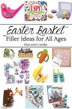 Easter Basket Ideas with Fillers for All Ages that aren't candy for Babies through Teens. Bless'er House