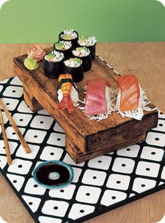 "A sushi cake by ""Confetti Cakes"". Pretty Cakes, Cute Cakes, Beautiful Cakes, Amazing Cakes, Vanilla Cookie Dough Recipe, Fondant Cakes, Cupcake Cakes, Food Cakes, Sushi Cake"