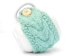 Aqua Mint Aran Hand Knit Mug Warmer or Cup by LittleButtonsAndBows, $8.00