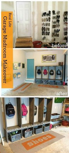Ready to spruce up your garage? If you are, these ingenious garage organization DIY projects and more will sure fit your lifestyle. Garage Organization Ideas To Fit Your Lifestyle Garage organizati… Mud Room Garage, Diy Garage, Garage Entryway, Small Garage, Dream Garage, Garage Office, Modern Garage, Garage Organization Tips, Garage Storage