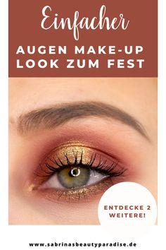 Augen Makeup Look Inspiration für Dein festliches Make-up zu Weihnachten. Rot goldenes festives Makeup für die Augen. Einfaches Augen Make-up für grüne Augen. Entdecke 2 weitere Weihnachts- Augen-Make-up Looks inklusive Step by Step Schminkanleitung. #eyemakeup #weihnachten #makeuplook