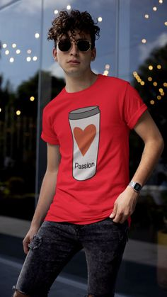 Love Coffee With A Passion Design. This White Travel Coffee Cup Design with a red heart and the word passion is perfect for the coffee lover who truly loves their coffee. Travel Coffee Cup, Coffee Cup Design, Ayurveda, Be Perfect, Outfit, Boy Fashion, Modern, Classic T Shirts, Passion