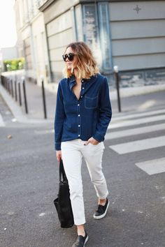 chambray with white pants