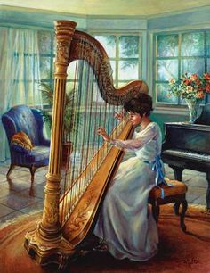 Harp and baby grand in the music room.