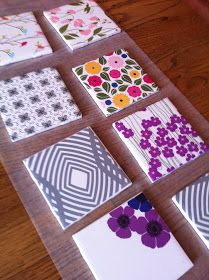 Transform ceramic tiles into DIY tile coasters with scrapbook paper. This is a simple craft that makes a fun handmade gift and adds color to your home! tiles handmade diy coasters DIY Night: Tile Coasters with Scrapbook Paper Ceramic Tile Crafts, Painting Ceramic Tiles, Ceramics Tile, Ceramic Art, How To Make Coasters, Diy Coasters, Making Coasters, Ceramic Coasters, Crafts To Sell