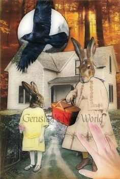 NEW - Marvalee's Basket of Hopes  - ORIGINAL Anthropomorphic Watercolor Collage Fairy Tale Art