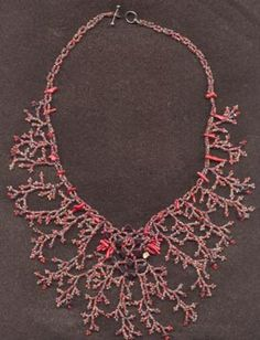 Coral and Garnet Frost beaded necklace