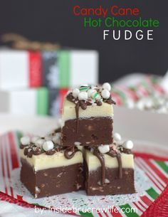 Candy Cane Hot Chocolate Fudge: Layers of hot chocolate fudge mixed with candy canes and marshmallows is such a pretty dessert for holiday parties