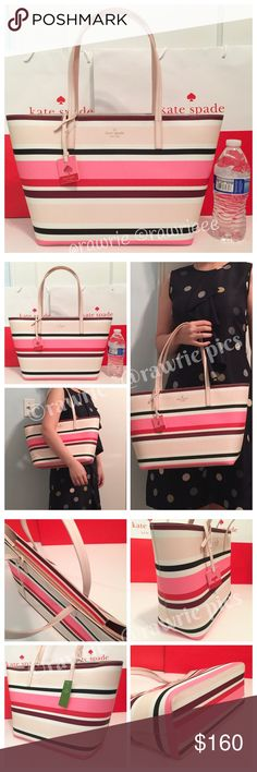 """New Kate Spade striped saffiano leather zip tote 100% authentic Kate Spade small Margareta tote. Multicolor saffiano cross hatched leather with smooth pink interior. Zip top closure. Handles drop 8.5"""". Measures 15.5""""top/11.5""""bottom x 10"""" (H) x 5"""" (W). Brand new with tag. Comes from a pet and smoke free home. kate spade Bags Totes"""