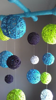 Blue and Green Yarn Ball Baby Mobile by inthe2doghouse on Etsy