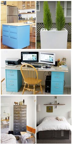 Use old filing cabinets or bookshelfs for  a DIY desk!  http://www.salvagedgrace.com/2012/01/26/repurposing-file-cabinets/