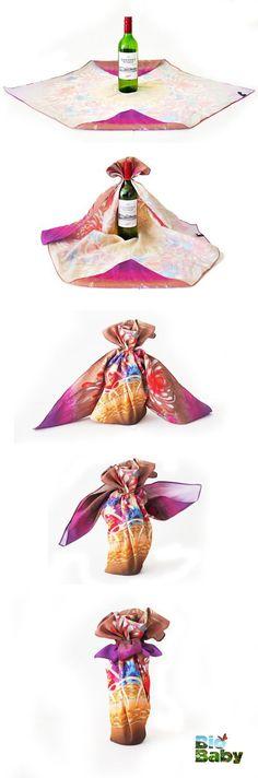 ¿Quieres regalar una botella de vino? Envuélvela en una tela bonita en vez de papel.