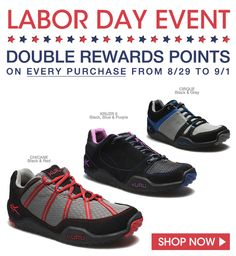 Earn Double Rewards this Labor Day Weekend! DOUBLE REWARDS POINTS ON EVERY PURCHASE FROM 8/29 TO 9/1 #iheartkuru #kurufootwear