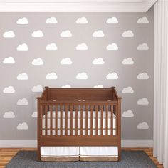 24 White Nursery Cloud Fabric Wall Decals