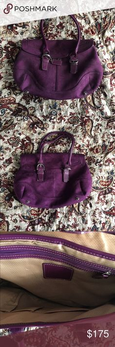 Coach suede purse Style 9674. Used once. In excellent condition! Beautiful color - hard to find. Suede material. Alot of room inside Coach Bags Satchels