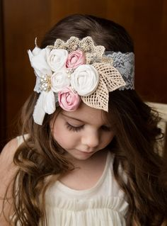 Vintage inspired flower cluster couture headband {Jane Deals}