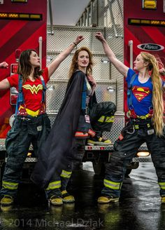 All of these Ladies are Interior/Structural Firefighters and EMTs... one is even a Fire Investigator. You don't NEED Super Powers To be a HERO !! ... Join your Local Volunteer Fire Department TODAY. :)
