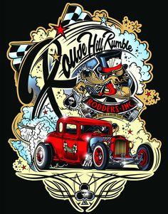 "Logo ""Rodders Inc."" & T-Shirt Design ""Rouse Hill Rumble"" - Australie - Copyright David Vicente Arte Lowrider, Rockabilly Art, Deco Retro, Garage Art, Lowbrow Art, Volkswagen Bus, Car Drawings, Automotive Art, Pin Up Art"