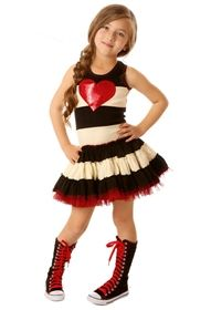 Ooh La La Couture - Stripped Twirly Dress with Red Heart