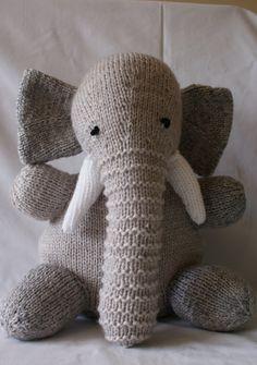 Elephant Hand Knitted In South West Ireland by IrishTeddyBears, Dog Jumpers, Two Tones, Teddy Bears, Hand Knitting, Hand Sewing, Ireland, Dinosaur Stuffed Animal, Elephant, Hands