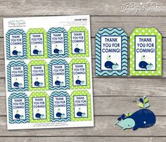 INSTANT DOWNLOAD AHOY It's A Boy Whale Green and by PartySparkle