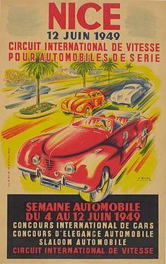 Nice - Circuit international de vitesse pour automobiles de série - semaine automobile du 4 au 12 juin 1949 - illustration de J. Ramel - France -