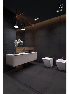Browse modern bathroom designs and decorating ideas. Discover inspiration for your minimalist bathroom remodel, including vanities, cabinets, mirrors, faucets room decor projects for a taste of magic bathroom ideas Bathroom Toilets, Wood Bathroom, Small Bathroom, Bathroom Lighting, Basement Bathroom, Bathroom Ideas, Shower Ideas, Charcoal Bathroom, Bathroom Black
