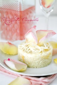 Risotto alle rose. #risotto  This seems too pretty to eat, but who knows? Could be tasty!