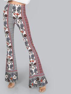 Mid Rise Flare Bell Bottom Pants FLORAL MULTI | MakeMeChic.COM Mobile Site