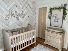 White Washed Wood Nursery 2019 We can't get enough of this white washed herringbone wood accent wall. The whole nursery is gorgeous. The post White Washed Wood Nursery 2019 appeared first on Nursery Diy. Wood Nursery, Rustic Nursery, Nursery Room, Girl Nursery, Baby Boy Rooms, Baby Bedroom, Baby Room Decor, Accent Wall Bedroom, Wooden Accent Wall