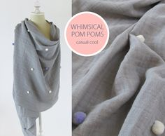 Embrace double gauze pom pom shawl tutorial @sew4home created this gorgeous shawl #tutorial for our Embrace Double Gauze http://www.shannonfabrics.com/index.php?main_page=coming_soon&cat_id=1081&zenid=3f1da03923b8353f6daeed1acc386fb7. We've shared it on our blog, My Cuddle Corner http://shannonfabrics.com/blog/2015/07/27/embrace-double-gauze-shawl-tutorial/ #Embrace #Embracedoublegauze #doublegauze #doublegauzeshawl #tutorial #sheers #shawl #sewing #pom #pompom