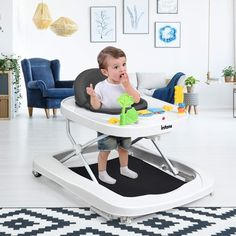 The foldable baby walker is designed with 3 modes: bouncer, seated baby walker and walk-behind walker, which can satisfy your different needs.   For the baby's safety, please only use the walk-behind feature when your child is able to walk on their own.  Besides that, the baby walker with 360° rotatable front wheels will help your baby learn to walk better. And the detachable music box gives baby various music enjoyment and early enlightenment. Baby Changing Table, Large Storage Baskets, Chair Price, Baby Swings, Baby Learning, Baby Safety, Baby Bottles, Rocking Chair, Your Child