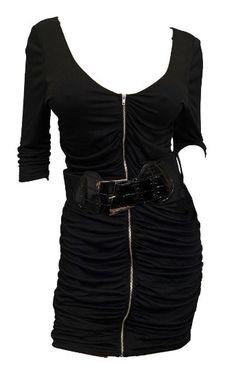 Amazon.com: eVogues Plus Size Zipper Front Belt Accented Mini Dress Black: Clothing