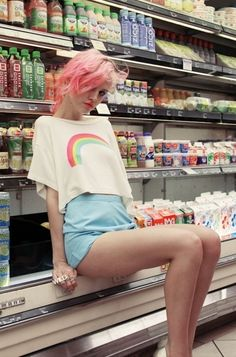 Charlotte Free in the new #wildfox rainbow top, shop it now $88