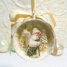 Tea Cup Ornament Snow Angel Shabby Victorian by GumDropSugarShop SOLD