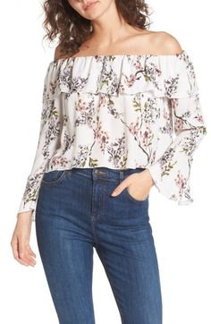 Stone Cold Fox Kennedy Off The Shoulder Blouse In White Autumn Off Shoulder Blouse, Off The Shoulder, Stone Cold Fox, Shirt Blouses, Shirts, Silk Top, Perfect Match, Ruffles, Autumn