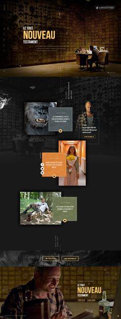 Dark webdesign. Interesting layout. Le Tout Nouveau Testament
