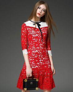 Hollow Lace Half Sleeve A-line Mini Dress