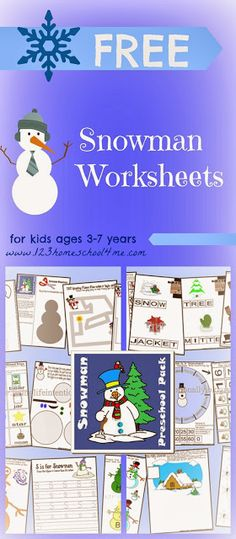 FREE snowman worksheets for toddler, preschool, kindergarten, and 1st grade perfect for practicing letters, telling time, math, shapes, pre writing, spelling, and so much more!