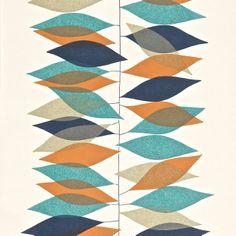 Sanderson Miro leaf motif wallpaper in teal + orange [teal, navy, orange, sand]