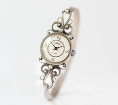 Vintage Watches Collection for women : Illustration Description Floral filigree wristwatch for women. Cocktail watch with bracelet Glory. Very rare lady watch filigree Stylish Watches For Girls, Art Deco Watch, Expensive Watches, Beautiful Watches, Watch Sale, Vintage Watches, Bracelet Watch, Jewelry Watches, Fashion Jewelry
